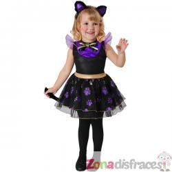 Disfraz de gatita morada para niña - Imagen 1
