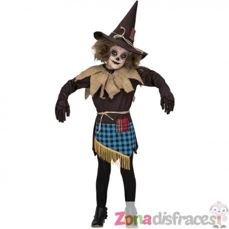Disfraz de espantapájaros marrón para niña - Imagen 1