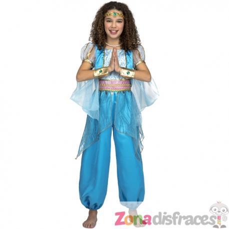 Disfraz de princesa árabe turquesa para niña - Imagen 1