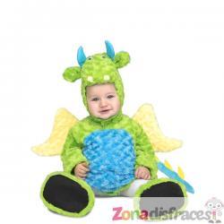 Disfraz de dinosaurio de peluche verde infantil - Imagen 1