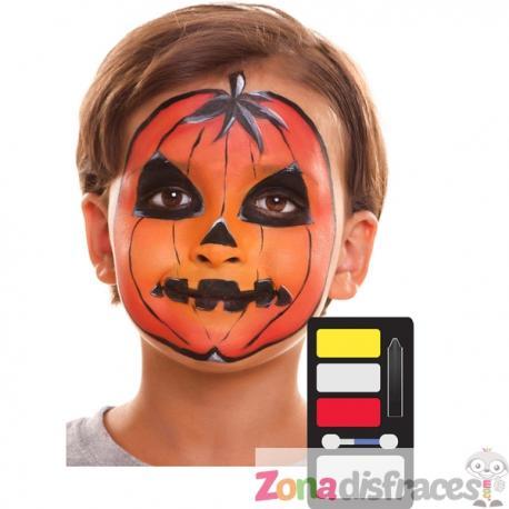 Maquillaje de calabaza de halloween infantil - Imagen 1