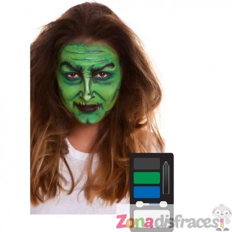 Maquillaje de bruja verde para adulto - Imagen 1