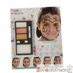Maquillaje de halloween naranja y negro infantil - Imagen 1