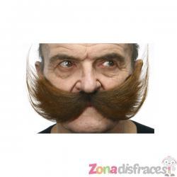 Bigote grueso castaño peinado hacia arriba - Imagen 1