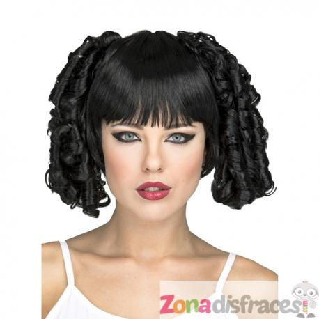 Peluca con coletas de bucles negros para mujer - Imagen 1