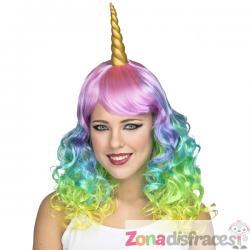 Peluca larga de unicornio tornasolado para mujer - Imagen 1