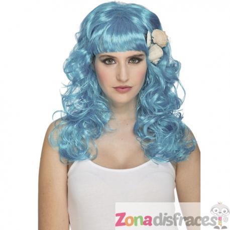 Peluca de sirena azul para mujer - Imagen 1