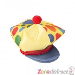 Gorro de payaso amarillo con topos de colores para adulto - Imagen 1