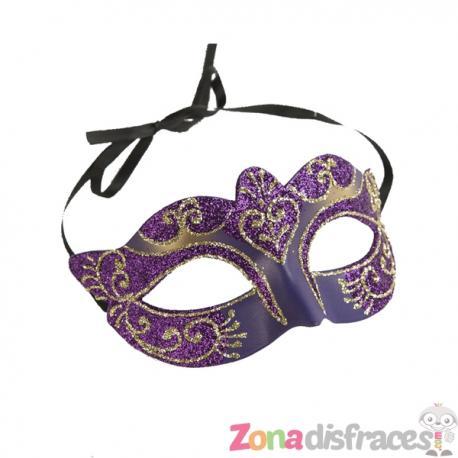 Antifaz veneciano con purpurina morada para adulto - Imagen 1