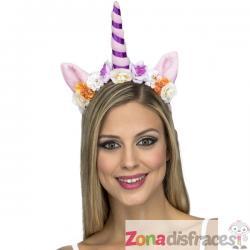 Diadema de unicornio morado para mujer - Imagen 1
