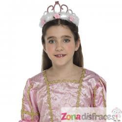 Tiara de reina rosa con peluche y flores para niña - Imagen 1