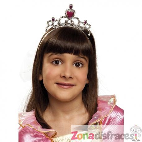 Tiara de princesa con rubí en forma de corazón para niña - Imagen 1