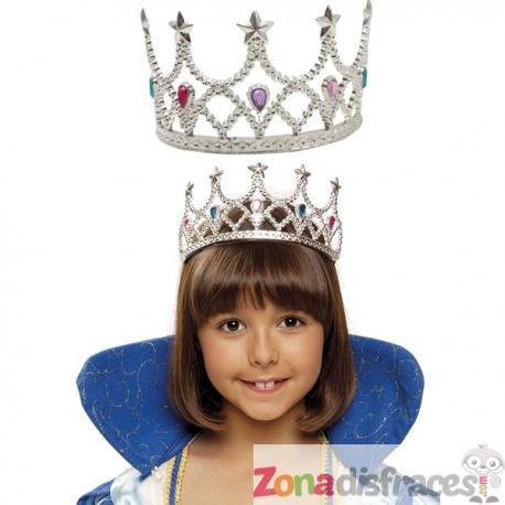 Tiara de reina plateada para niña - Imagen 1