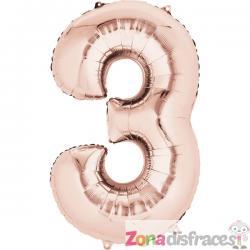 Globo número 3 oro rosa de 40 cm - Imagen 1
