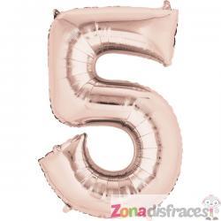Globo número 5 oro rosa de 40 cm - Imagen 1