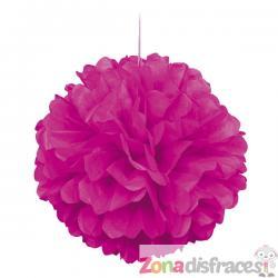 Pom pom decorativo rosa neón - Imagen 1