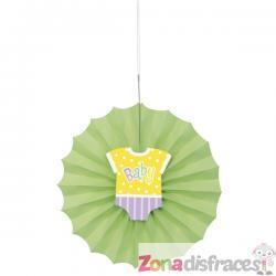 Abanico decorativo verde - Baby Shower - Imagen 1