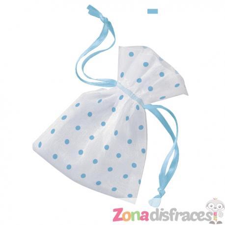 Bolsa blanca con topos azules - Baby Shower - Imagen 1