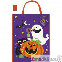Bolsa de calabaza gato y fantasma divertidos - Happy Halloween - Imagen 1