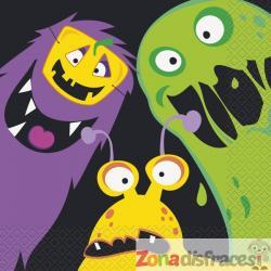 Set de 16 servilletas de monstruos infantiles - Silly Halloween Monsters - Imagen 1