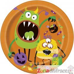 Set de 8 platos redondos de monstruos infantiles - Silly Halloween Monsters - Imagen 1