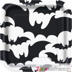 Set de 8 platos de postre con murciélago negro y blanco - Black Bats Halloween - Imagen 1
