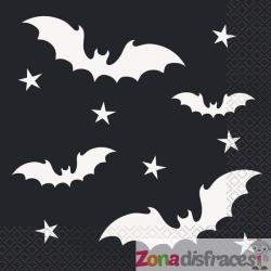 Set de 16 servilletas de murciélagos - Black Bats Halloween - Imagen 1