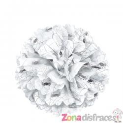Pompón decorativo blanco con arañas - Basic Halloween - Imagen 1