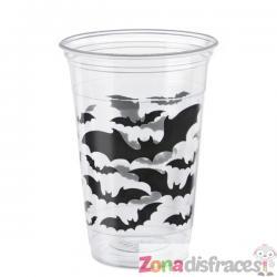 Set de 8 vasos transparentes con murciélagos - Black Bats Halloween - Imagen 1