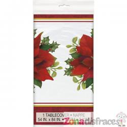 Mantel rectangular con flor de pascua elegante - Holly Poinsettia - Imagen 1