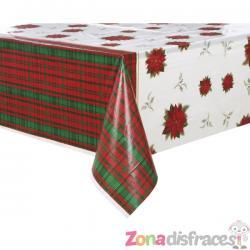 Mantel rectangular con flor de pascua y cuadros escoceses - Poinsettia Plaid - Imagen 1