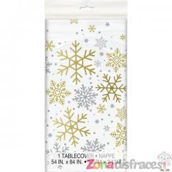 Mantel rectangular - Silver & Gold Holiday Snowflakes - Imagen 1