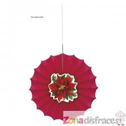 Abanico decorativo con flor de pascua elegante - Holly Poinsettia - Imagen 1