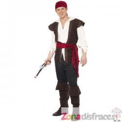 Disfraz de pirata aventurero en negro - Imagen 1