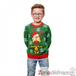 Jersey navideño verde infantil - Imagen 1