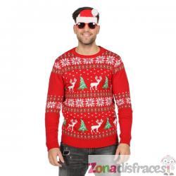 Jersey navideño clásico rojo para adulto - Imagen 1