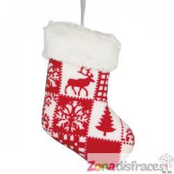 Bota navideña decorada para el árbol - Imagen 1