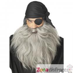 Barba y bigote de Pirata gris - Imagen 1