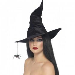 Sombrero de bruja negro con araña - Imagen 1