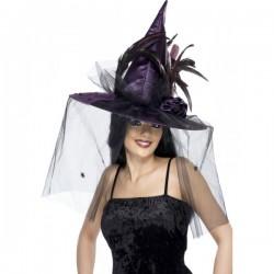 Sombrero de bruja de plumas morado - Imagen 1