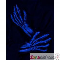Guantes de esqueleto azul UV glow para adulto - Imagen 1