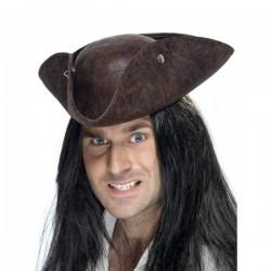 Sombrero pirata de tres picos marrón - Imagen 1