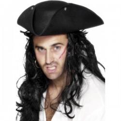 Sombrero pirata de tres picos negro - Imagen 1