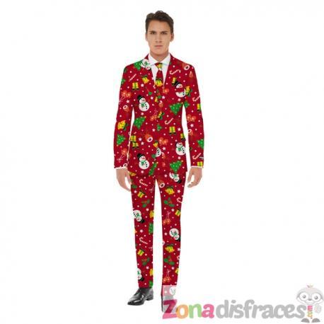 Traje navideño rojo Opposuits - Imagen 1