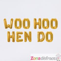 Guirnalda de globos foil dorados - Woo Hoo Hen Do - Imagen 1
