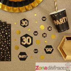 "Confeti para mesa ""30"" - Glitz & Glamour Black & Gold - Imagen 1"