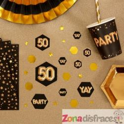 "Confeti para mesa ""50"" - Glitz & Glamour Black & Gold - Imagen 1"