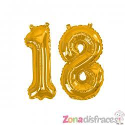 "Globo foil ""18"" en dorado - Glitz & Glamour Black & Gold  40cm - Imagen 1"