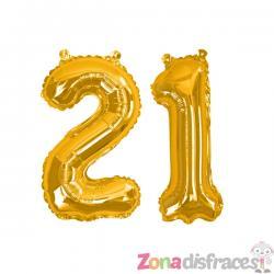 "Globo foil ""21"" en dorado - Glitz & Glamour Black & Gold 40cm - Imagen 1"