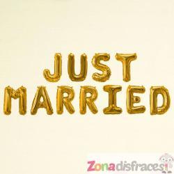 "Globo foil ""Just married"" en dorado - Glitz & Glamour Black & Gold - Imagen 1"